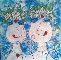 <h5>Titel: Fabelagtig kærlighed-2</h5><p>Malet på lærred 50x50</p>