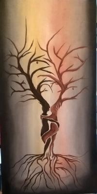 <h5>Titel: Kærlighedens træ.</h5><p>Malet på lærred 35x70 Malet til et bryllup. </p>